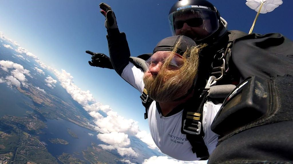 Tandem parachuting with photoshoot
