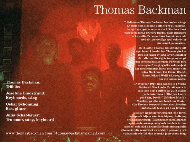Konsert med träblåsaren Thomas Backman