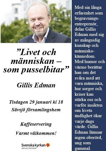 """""""Livet och människan – som pusselbitar"""" föreläsning med Gillis Edman"""