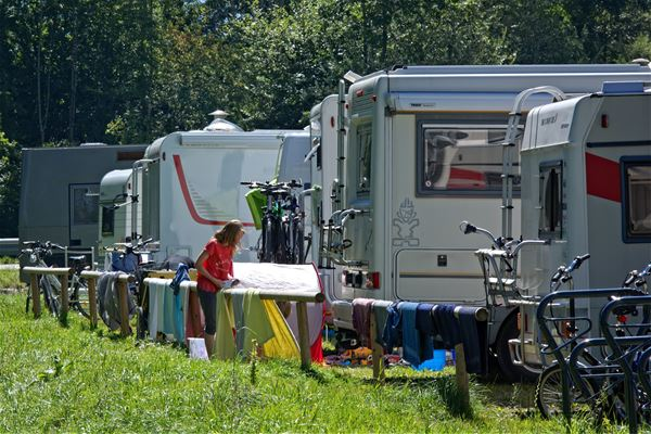 Parking for motorhomes at Evedal´s camping