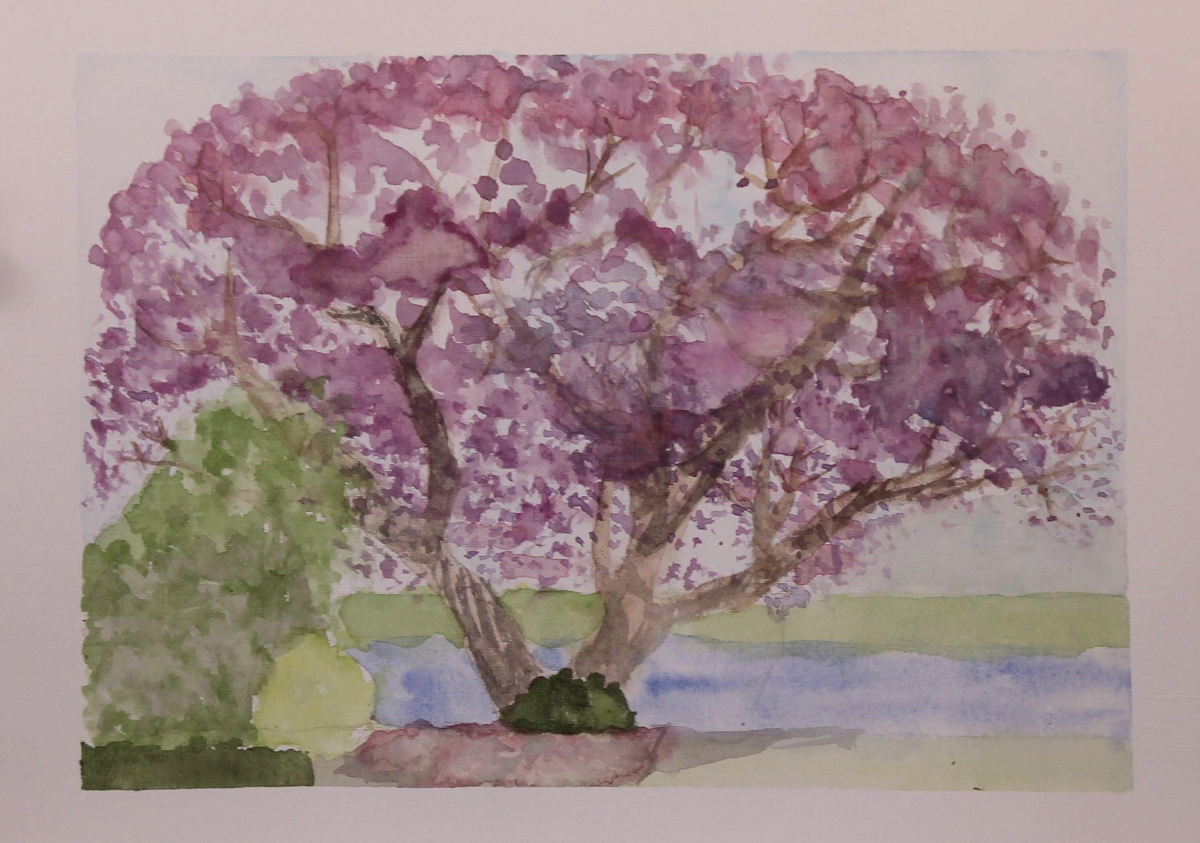 Watercolour in the garden