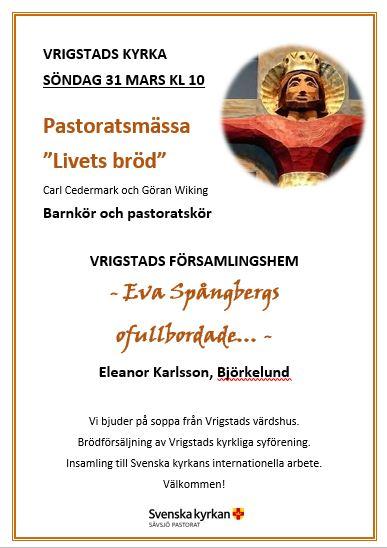"""Pastoratsmässa   """"Livets bröd"""""""