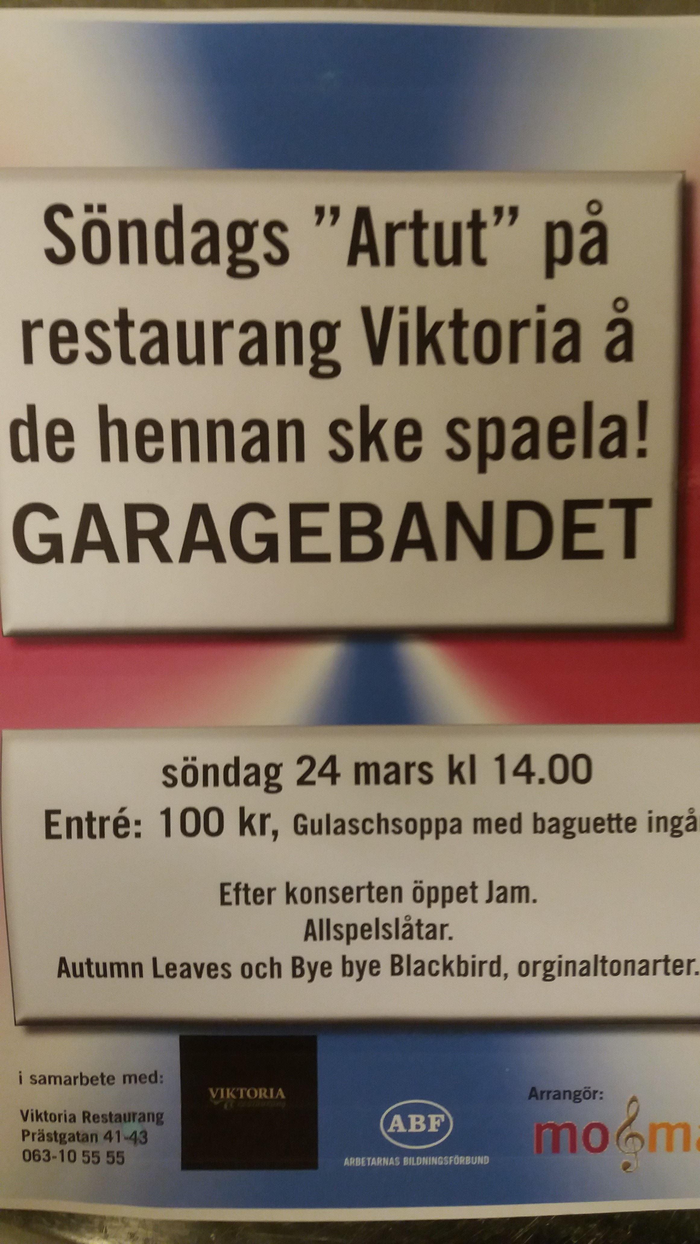 © Restaurang Viktoria, Garagebandet at Restaurant Viktoria