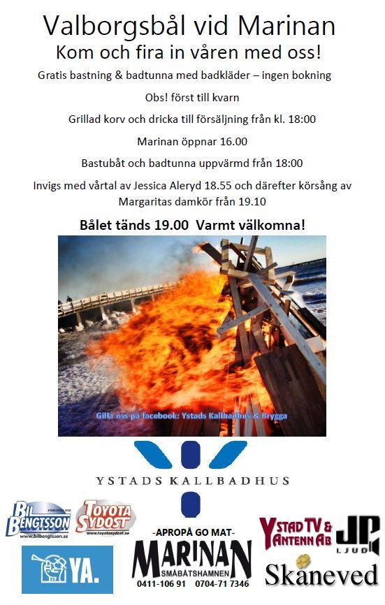 Valborgsbål vid Marinan, Ystad
