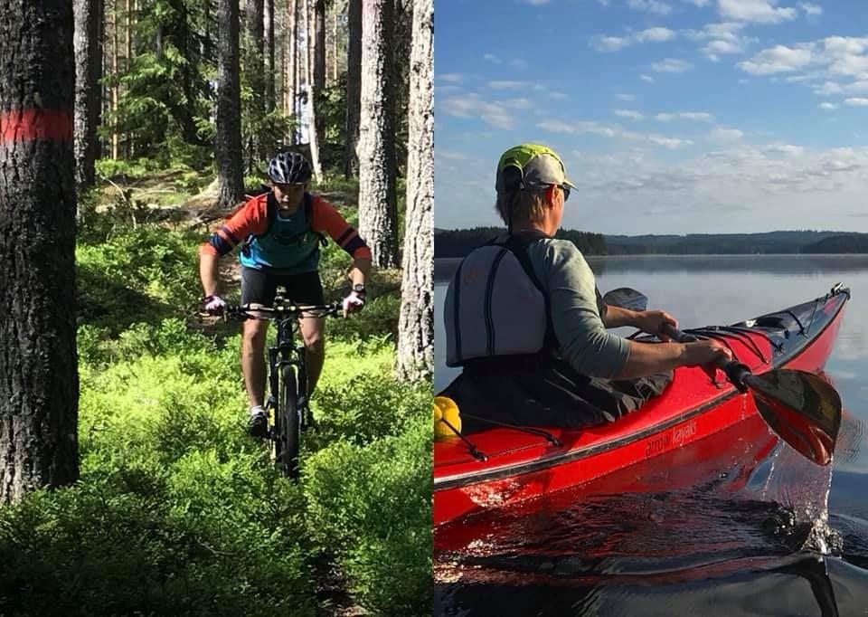 Mountainbike och kajaktur