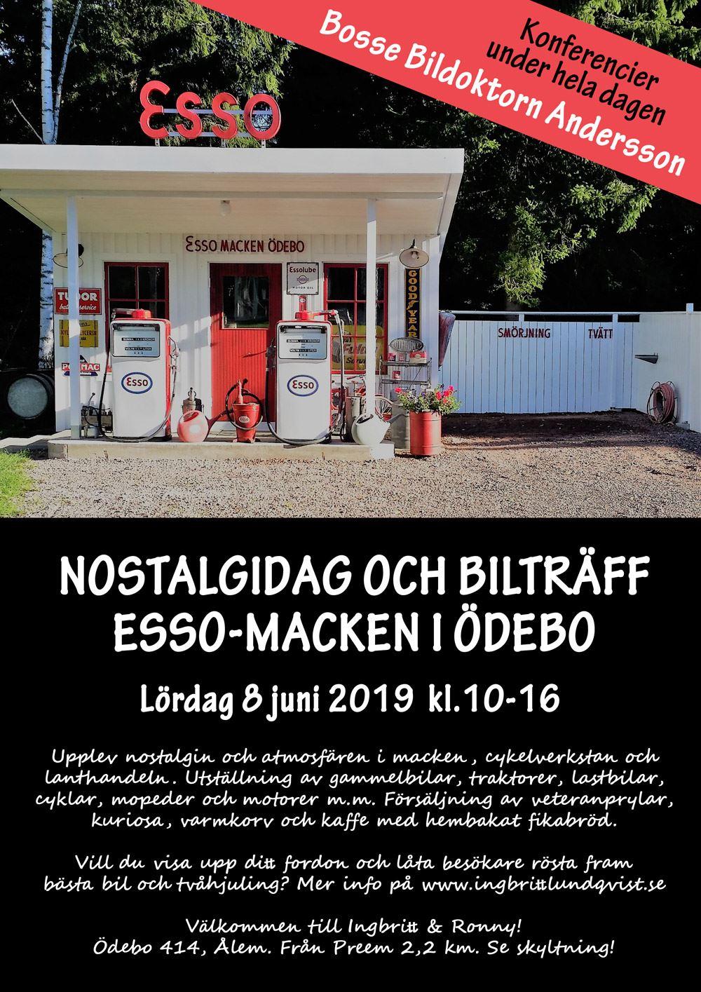 Nostalgidag och bilträff Esso-macken i Ödebo