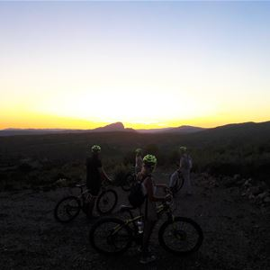 Sunset on the Pic St Loup in electric mountain bike with Seb