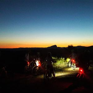 Sunset on the Pic St Loup in electric mountain bike with Seb Eco Bike