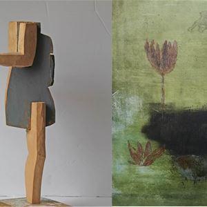 Annika Wennberg, träskulpturer och Louise Villa, målningar.