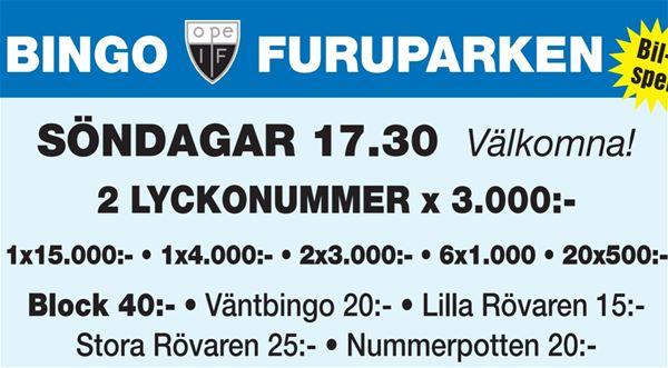Foto: Ope IF,  © Copy:Visit Östersund, bingo furuparken information