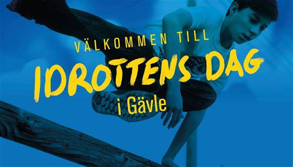 """Bildbyrån,  © Bildbyrån, Texten """"Idrottens dag"""" i gult i förgrunden. En pojke gör ett hopp i bakgrunden."""