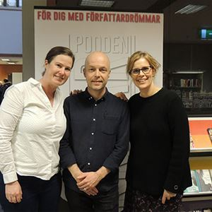 Bild på föredragshållare på Skrivardagen Sofie Berthet och Johan Carle