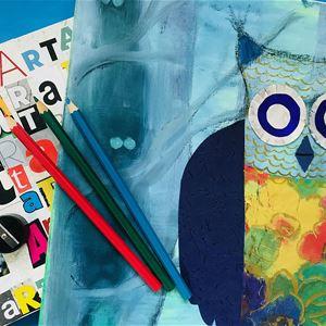 Trampolin, en målning av en uggla och pennor