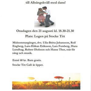 © Frösö hembygdsförening, Allsångskväll med dans på Stocke Titt!