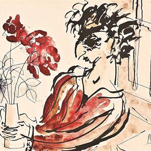 © Sveriges Fängelsemuseum, Självporträtt av Isaac Grünewald med en röd blomma