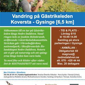 Vandring på Gästrikeleden, Gammelbyn, Koversta – Gysinge.