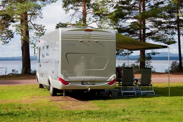 Camper with sunshade.