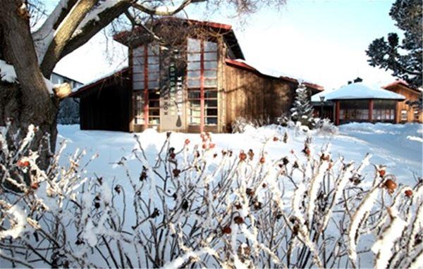 Vinterbild Rättviks kulturhus.