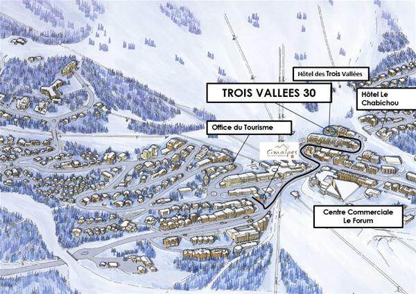 3 pièces 6 personnes skis aux pieds / TROIS VALLEES 30 (montagne)