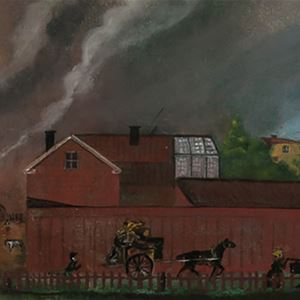 Målning föreställande Gävle under branden.