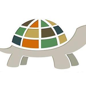 En tecknad sköldpadda. Logo för Slow Art Day.