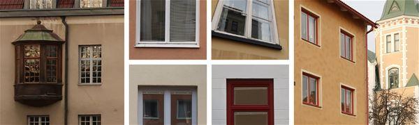 Sex foton som visar husfasader med fönster.