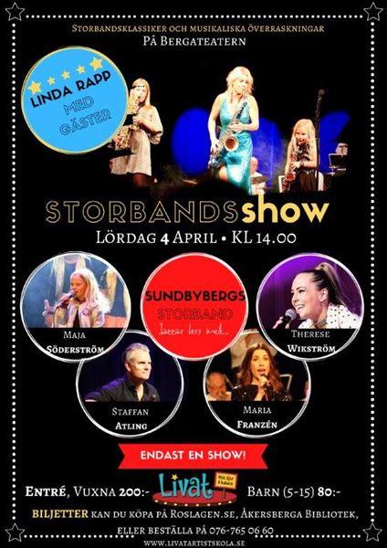 INSTÄLLT! Storbandshow - Linda Rapp med gäster.