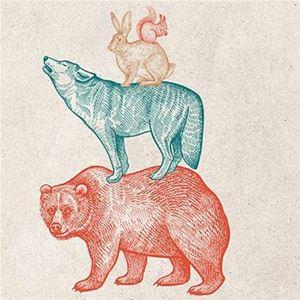 Björn, varg, hare, ekorre.