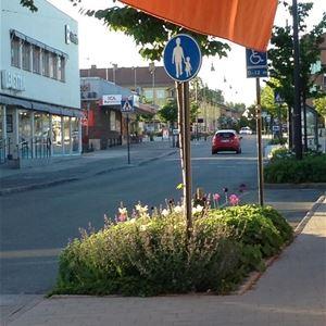 Centrum med en plantering och genomfartsväg.