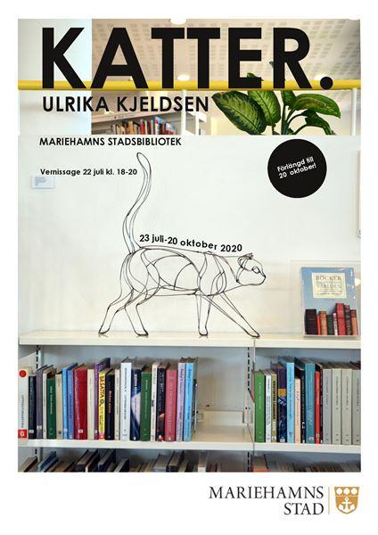 "Utställning: ""Katter"" av Ulrika Kjeldsen i Mariehamns stadsbibliotek"
