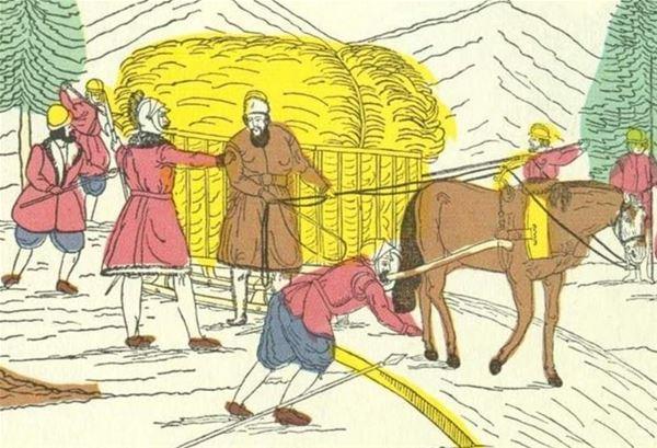 Gustav Eriksson Vasa flyr, gömd i ett hölass. Kistebrev 1852
