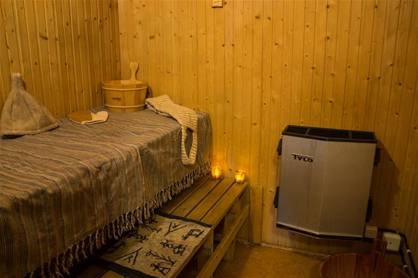 Sauna with candles.