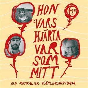 En affisch med gul bakgrund, röd text Hon vars hjärta var mitt, röda ringar med bilder på de medverkande.