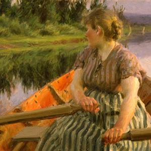 Målning av Zorn. Kvinna sitter i båt och ror.