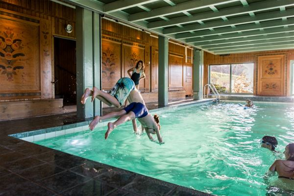 Two boys diving into the pool in a room with several dalecarlian paintings on the walls.