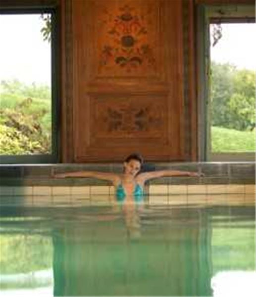 Woman in the pool with dalecarlian paintings on the wall behind her.