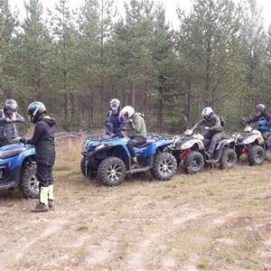 People with four wheelers in a row by the woods.
