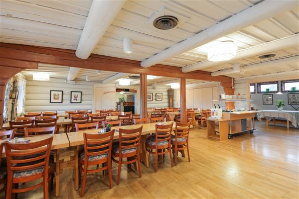 Restaurant with white timbered walls and dining furniture in pine.