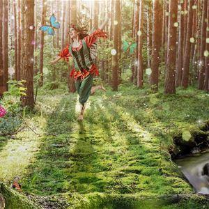 Dansande sagofigur i trollskogen.