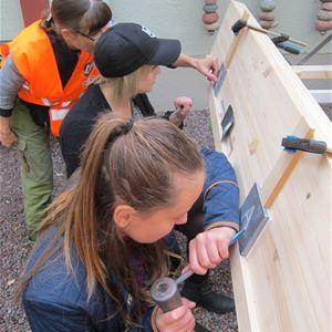 Peter Harström,  © Peter Harström, Två tjejer som har olika redskap för att göra en bokstav på en sten.