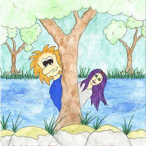 © Caroline Rendahl, En affisch med information om evenemanget, ett troll och en kvinna med lila hår tittar fram bakom ett träd.
