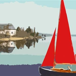 En målad teckning på en segelbåt på vattnet med en kyrka intill.