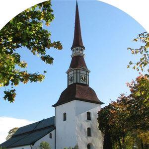 Vit kyrka med lövträd ikring kyrkan.