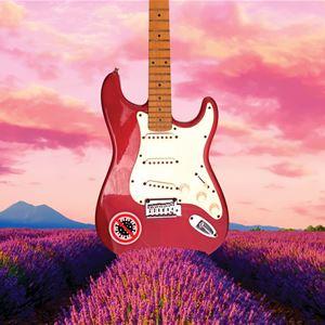 Illustration - röd gitarr på lila blomsterfält.
