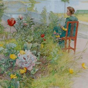 Målning av Carl Larsson, kvinna som sitter på en stol i trädgården.