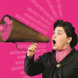 Kvinna som ropar i en mistlur mot en rosa bakgrund med slagord om mänskliga rättigheter.