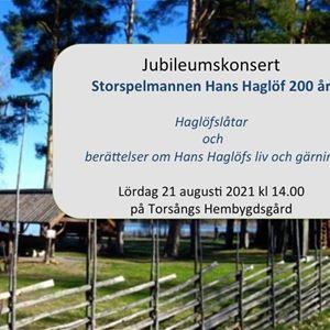 Torsångs spelman Hans Haglöf 200 år - Jubileumskonsert