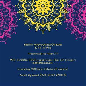 Affisch, kreativ mindfulness för barn, mörklila bakgrund, mandalas i rosa och gult, informationstext om evenemanget.