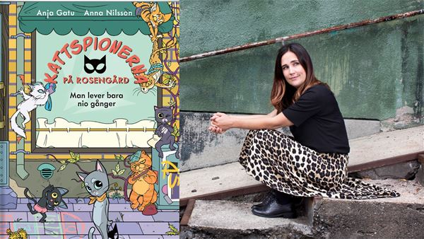 Emma Larsson, En bild av författaren Anja Gatu och hennes bok Kattspioner på Rosengård.