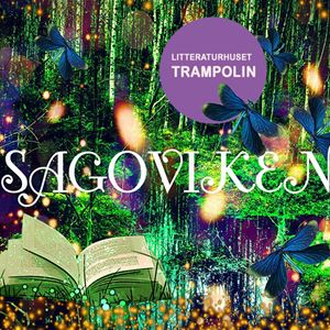 Katarina Eriksson,  © Trampolin, En sagoskog med en glittrande bok och trollsländor.